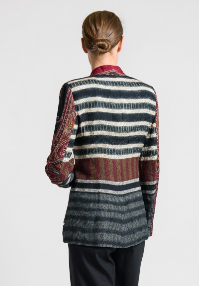 Etro Collarless Textured Jacquard Jacket in Red Multi