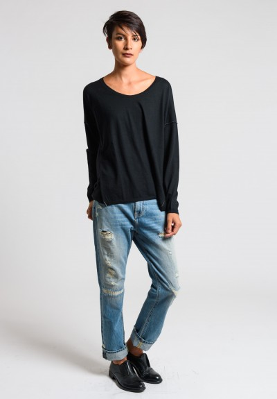 Paychi Guh Cashmere Long Sleeve Boxy Tee in Black