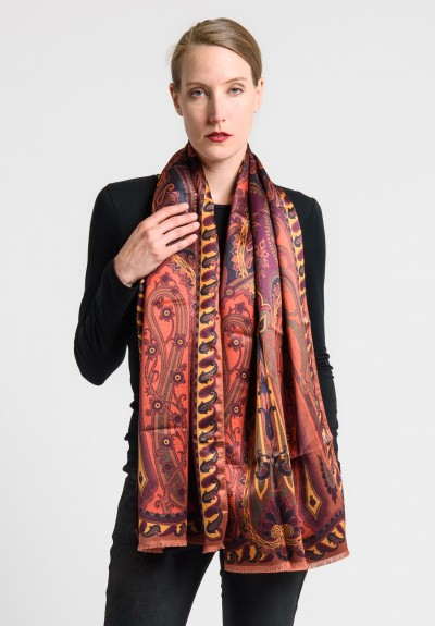 Etro Silk/Wool Printed Paisley Scarf in Red/Mauve
