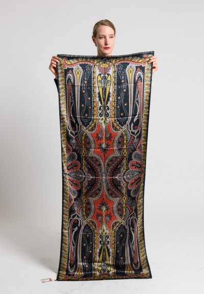 Etro Silk/Wool Printed Paisley Scarf in Black/Gold