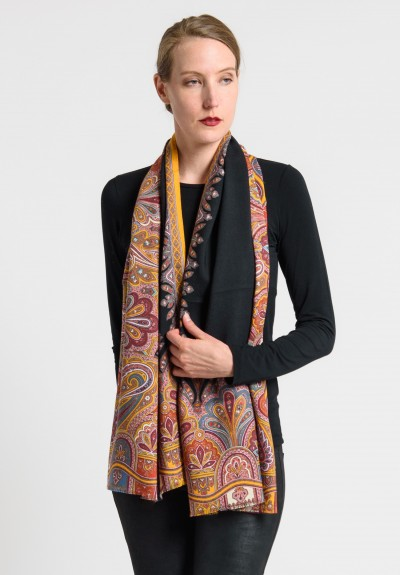 Etro Wool/Silk Intricate Paisley Print Scarf in Black