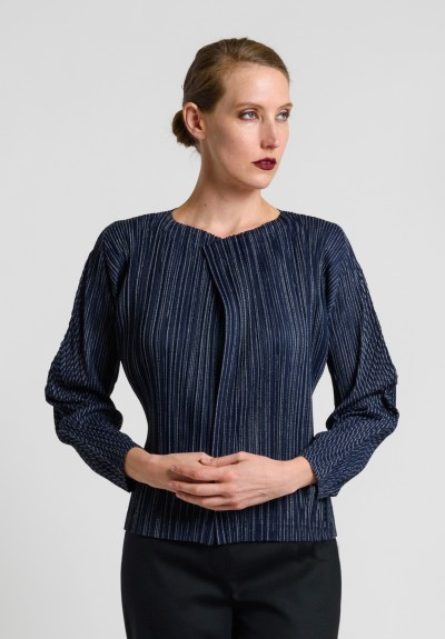 Issey Miyake Pleats Please Striped Pleated Jacket in Navy