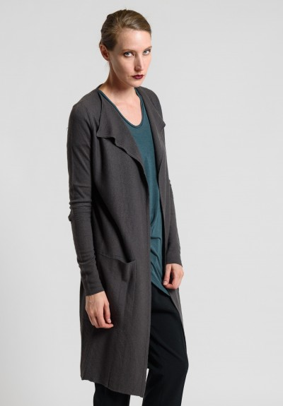 Rick Owens Boiled Cashmere Long Cardigan Jacket in Dark Dust
