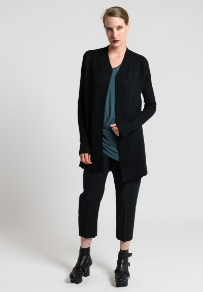 Rick Owens Boiled Cashmere Ribbed Sleeve Cardigan Jacket in Black