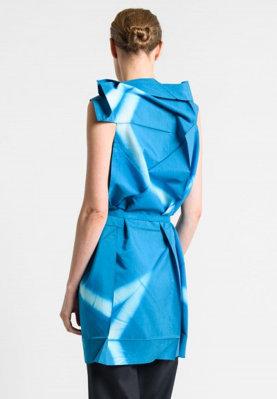 Issey Miyake 132 5. Sleeveless Origami Collar Tunic in Blue