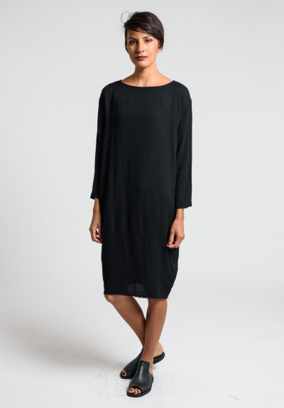 Black Crane Slim Dress in Black