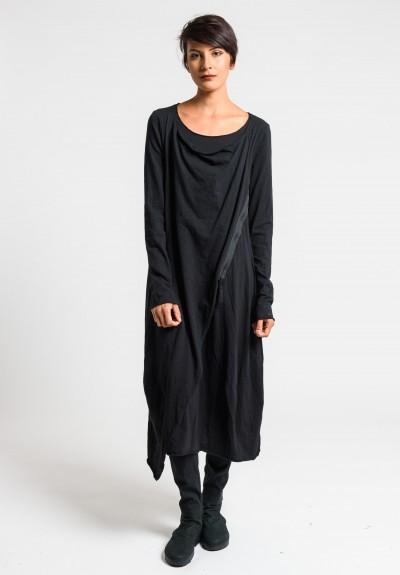 Rundholz Black Label Draped Long Tulip Dress in Black