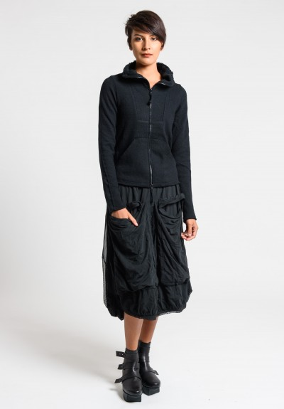 Rundholz Black Label Mesh Layered Large Pocket Skirt in Black