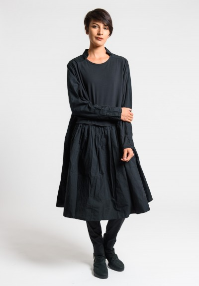Rundholz Black Label Point Collar Attached Skirt Dress in Black