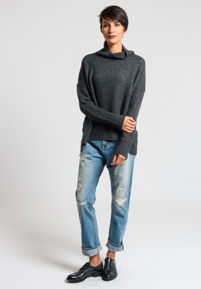 Paychi Guh Cozy Mock Neck Pullover in Charcoal