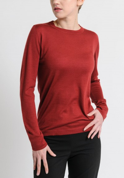 Brunello Cucinelli Lightweight Cashmere/Silk Sweater in Red