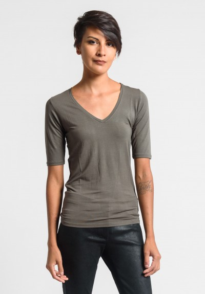 Majestic V-Neck Top in Khaki