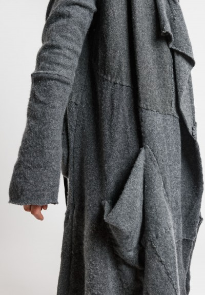 Greg Lauren Cashmere Patchwork Nomad Jacket in Dark Charcoal