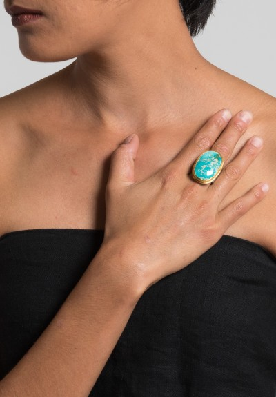 Greig Porter Large Oval Roystone Turquoise Ring