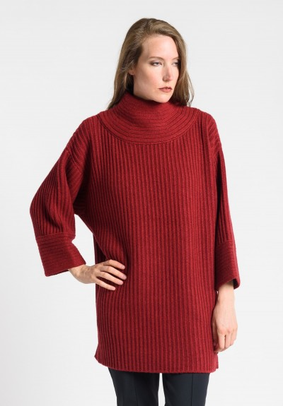 Akris Ribbed Cashmere Turtleneck Sweater in Miracle Berry