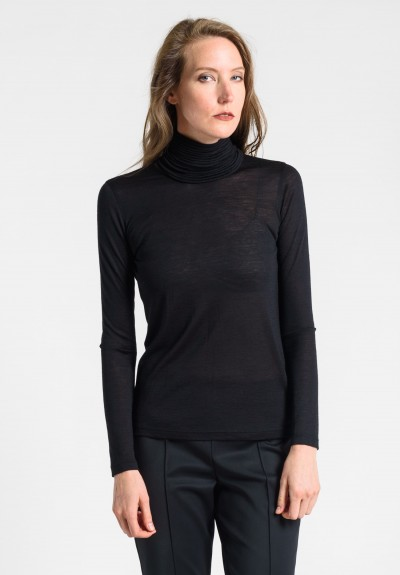 Akris Masai-Collar Cashmere/Silk Top in Black