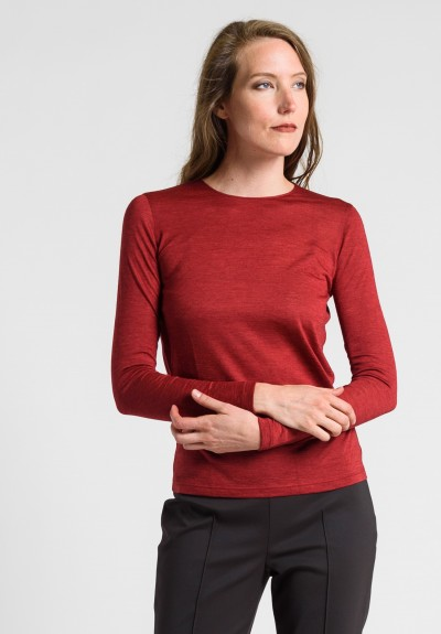 Akris Cashmere/Silk Crew Neck Top in Miracle Berry