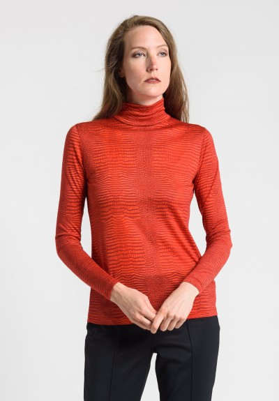 Akris Cashmere/Silk Mock Neck Top in Red