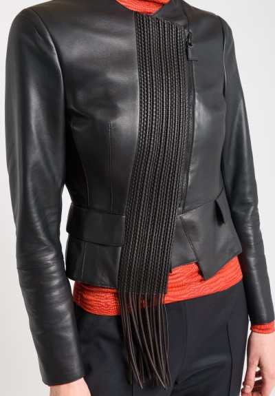 Akris Flora Woven Leather Jacket in Date