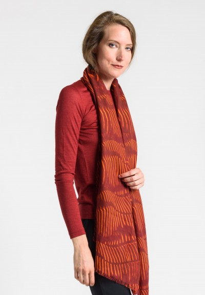 Akris Cashmere/Silk Zebra Print Scarf in Miracle Berry