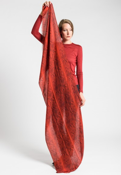 Akris Cashmere/Silk Snake Skin Print Scarf in Red