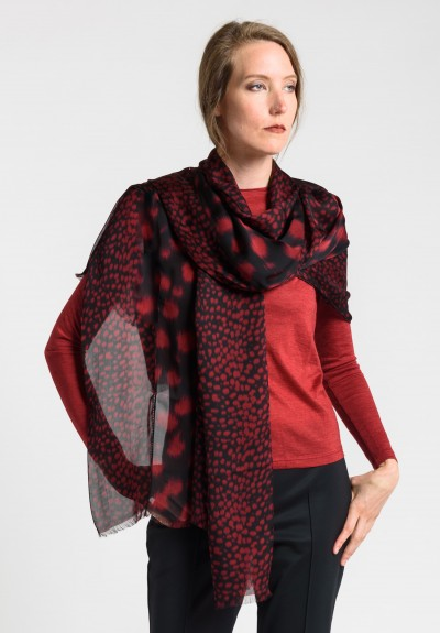 Akris Silk 5 Panel Hemstitched Scarf in Mangosteen