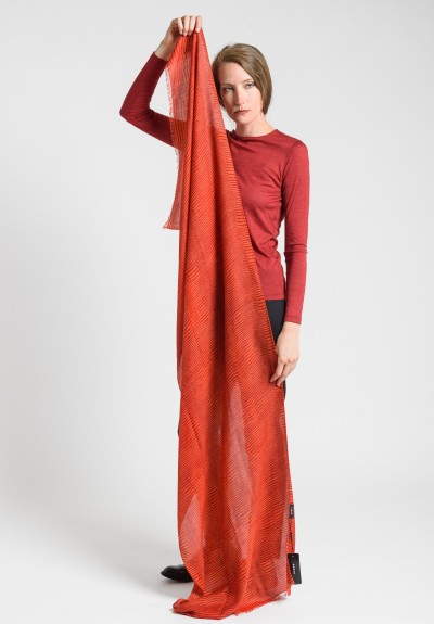 Akris Cashmere/Silk Crocodile Print Scarf in Red