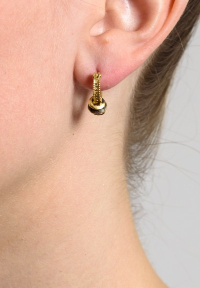 Tovi Farber Hoops with Black Diamond Drop Earrings