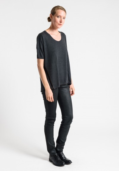 Paychi Guh Cashmere Scoop Neck Top in Charcoal