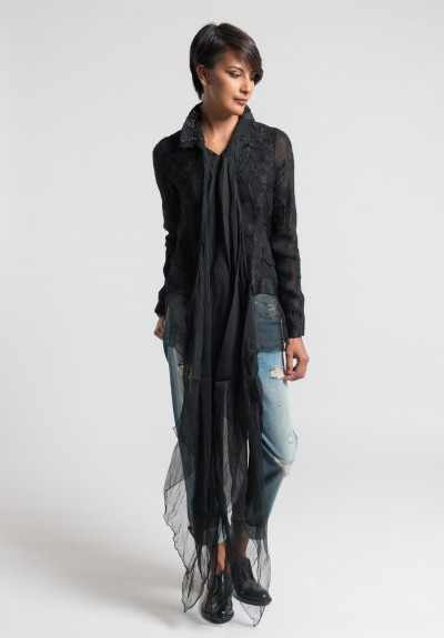 Marc Le Bihan Sheer Lace Jacket in Black