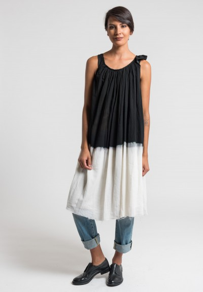 Marc Le Bihan Dip-Dyed Asymmetric Dress in Black/White