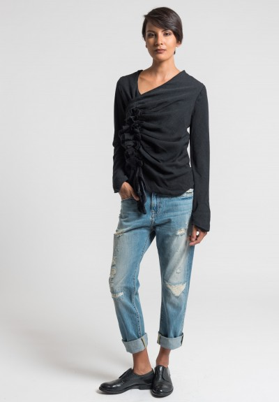 Marc Le Bihan Wool Multi Knots Top in Black