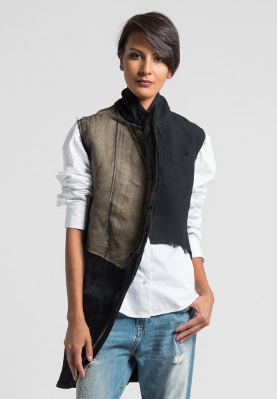 Marc Le Bihan Asymmetric Deconstructed Vest in Black