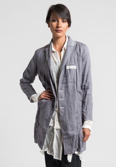Umit Unal Long Linen Jacket in Grey