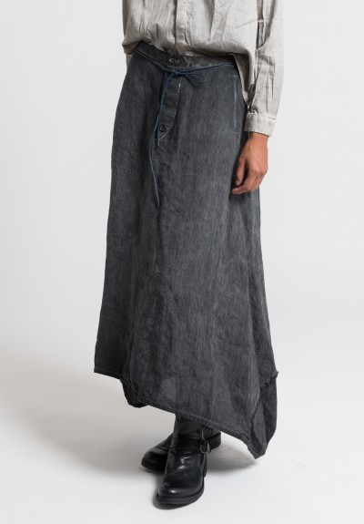 Umit Unal Long Linen Skirt in Dark Grey