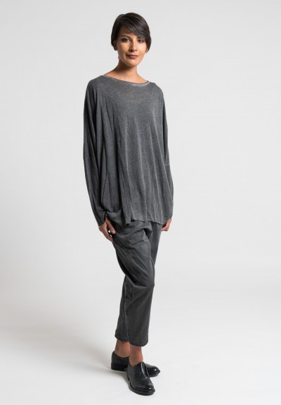 Umit Unal Viscose Oversize Top in Dark Grey
