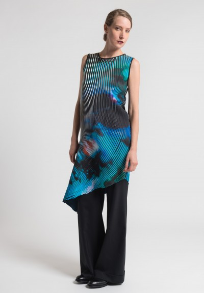 Issey Miyake Nebula Print Pleated Tunic Dress in Black/Multi