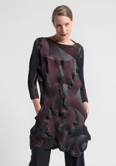 Issey Miyake Corona Tunic Dress in Red/Grey