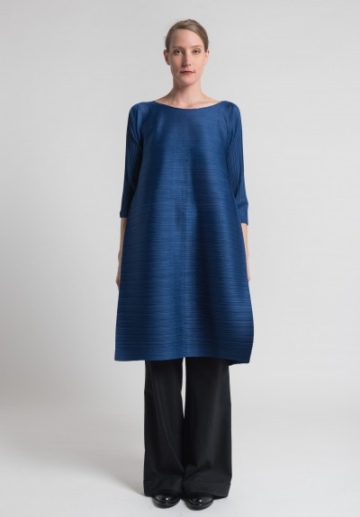 Issey Miyake Pleats Please Edgy Bounce Dress in Blue