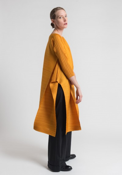 Issey Miyake Pleats Please Edgy Bounce Dress in Marigold