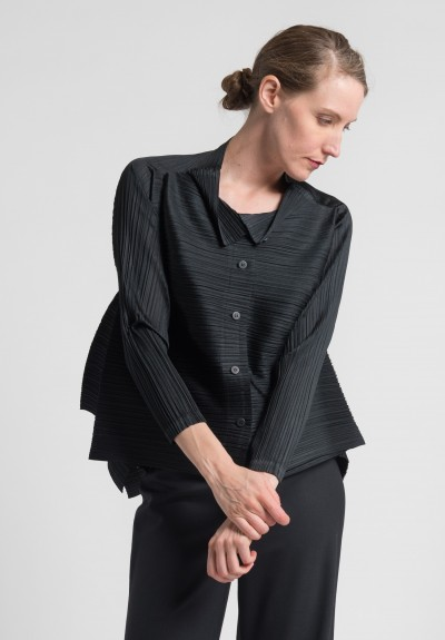 Issey Miyake Pleats Please Edgy Bounce Jacket in Black
