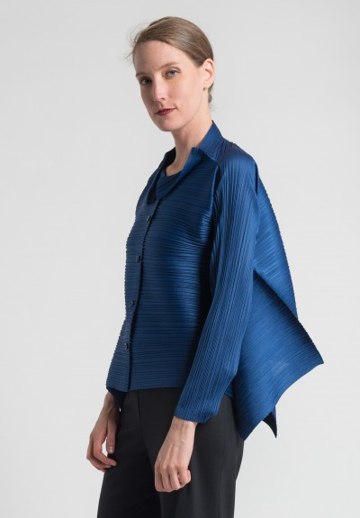 Issey Miyake Pleats Please Edgy Bounce Jacket in Blue