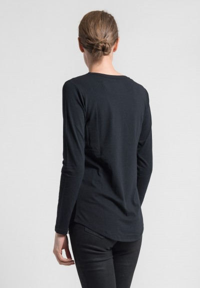 Majestic Cotton/Cashmere Long Sleeve Crew Neck Tee in Noir