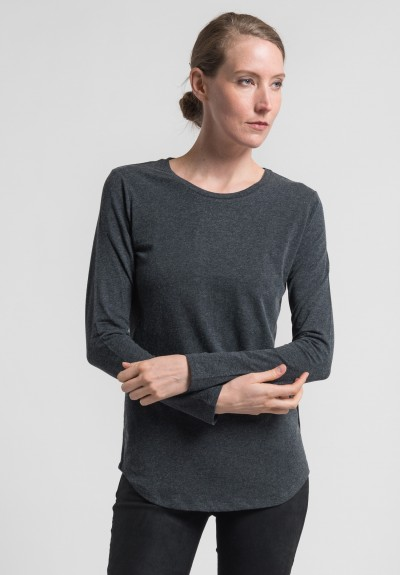 Majestic Cotton/Cashmere Long Sleeve Crew Neck Tee in Anthracite