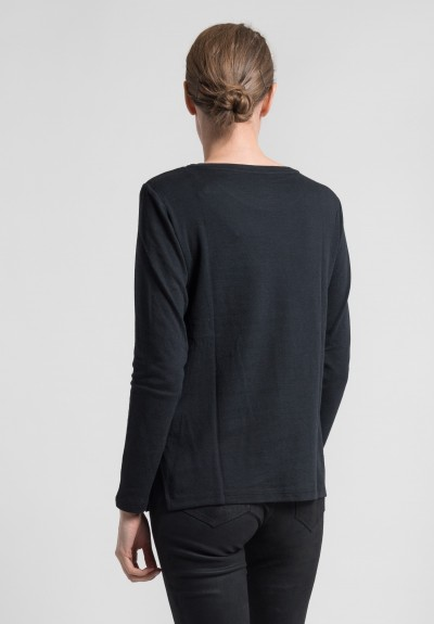 Majestic Double-Face Long Sleeve Crew Neck Tee in Noir