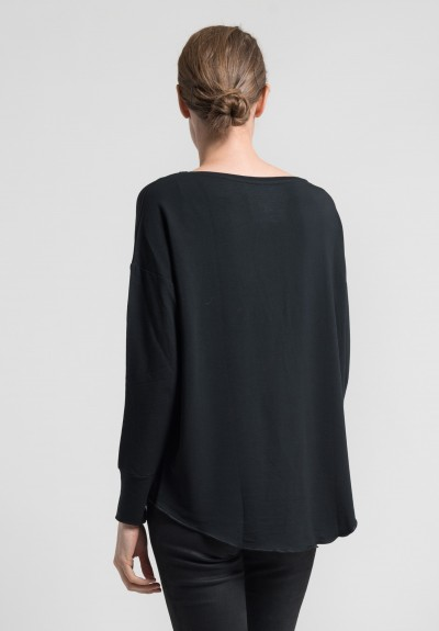 Majestic Relaxed Long Sleeve Bateau Neck Tee in Noir