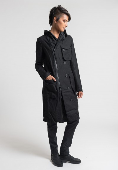 Rundholz Knee Length Hooded Jacket in Black