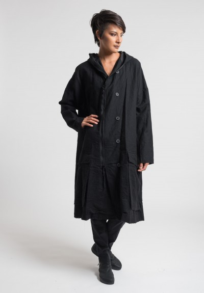 Rundholz Hooded A-Line Coat in Charcoal