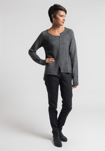 Rundholz Exposed Seam A-Line Sweater in Light Charcoal