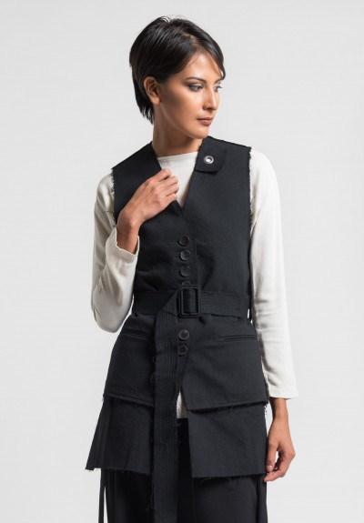 Damir Doma Giotto Belted Vest in Coal
